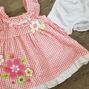 Baby girl checkered and flower dress